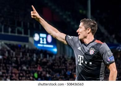 NETHERLANDS, EINDHOVEN - November 1th 2016: at the Philips Stadium , Champions League , PSV - Bayern Munchen , Robert Lewandowski