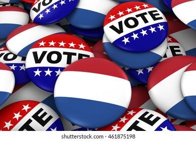 Netherlands Elections Concept - Dutch Flag and Vote Badges 3D Illustration