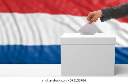 Netherlands elections. Voter and a white ballot box on an waving Netherlands flag background. 3d illustration
