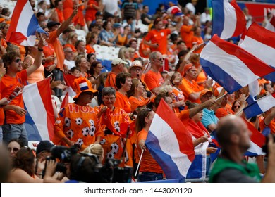Netherlands fan before the FIFA Women's World Cup France 2019 semi-final football, Netherlands vs Sweden on July 3, 2019 Groupama Stadium Lyon France