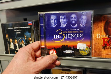 THE NETHERLANDS - FEBRUARY 3, 2020: CD live album: The 3 Tenors in Concert 1994 in a second hand store.