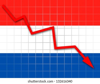 The Netherlands flag and arrow graph going down
