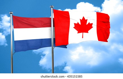 Netherlands flag with Canada flag, 3D rendering