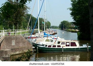Netherlands, Friesland,juni,2016: Watersports in Dokkum