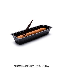 Netherlands frikandel in shell with fork isolated on white