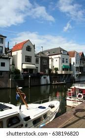 Netherlands, Gorinchem, Gorkum, June 2016, houses with hanging kitchens and streetview along Rivier de Linge