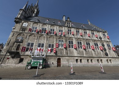 Netherlands; Gouda, 2017, city center, showing its famous 15th century Town hall, The place where Gouda chesse fair takes place.