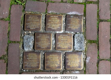 Netherlands, Gouda, 2017, Stumbling stones, or stolpersteine are memorial brass plates placed into the pavement outside certain houses or deportation zones in Holland.