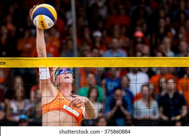 NETHERLANDS, THE HAGUE - July 5th 2016: at the Beach stadium during the World Cup Beach Volleyball , Jantine van der Vlist woman world cup beach volleybal