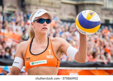 NETHERLANDS, THE HAGUE - July 5th 2016: at the Beach stadium during the World Cup Beach Volleyball , Marleen van Iersel woman world cup beach volleybal