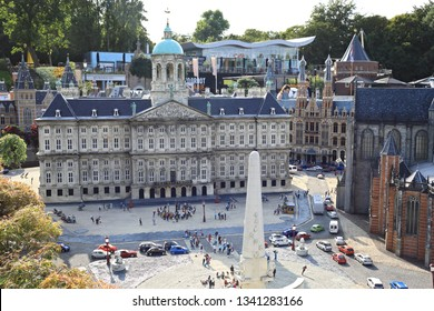 Netherlands, Hague - July 7, 2018: Madurodam Park, the model of the Royal palace in Amsterdam.