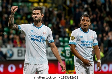 NETHERLANDS, THE HAGUE - Sept 16th 2018: during the match ADO The Hague - PSV Eindhoven, PSV Player Gaston Pereiro (l) with Donyell Malen (r)