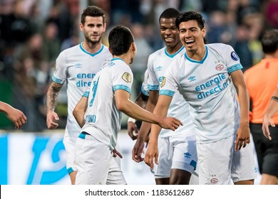 NETHERLANDS, THE HAGUE - Sept 16th 2018: during the match ADO The Hague - PSV Eindhoven, PSV player Erick Gutierrez with  Hirving Lozano