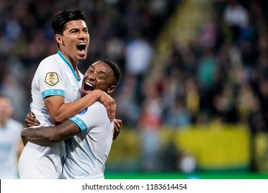 NETHERLANDS, THE HAGUE - Sept 16th 2018: during the match ADO The Hague - PSV Eindhoven, PSV players Erick Gutierrez (Guti) (l) and Steven Bergwijn (r)