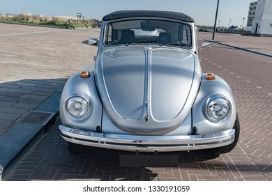 Netherlands, Holland, 2017, A classic grey volkswagen in excellent condition, parked in the seaside resort of Zeeburg.
