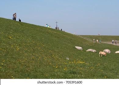 Netherlands, Hondsbossche sea wall,-june 2017:The Hondsbossche sea wall is a 5.5 km long dike near Petten, which attracts tourists