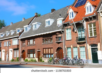 Netherlands houses with bicycles in the city of Eindhoven