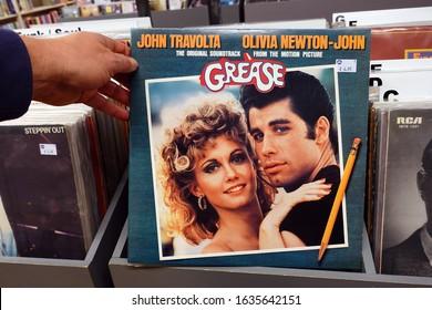 THE NETHERLANDS - JANUARY 28, 2020: LP record of the original motion picture Sound Track from the 1978 Film: Grease in a second hand store.