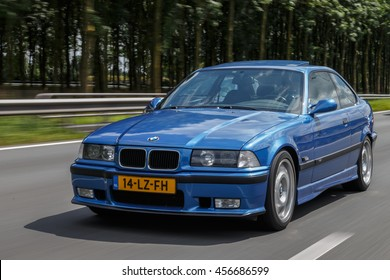 Netherlands June 17, 2016 BMW e36 M3 driving on the highway at Holland