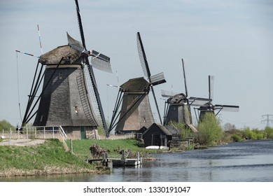 Netherlands, Kinderdijk, 2017, Iconic heritage site with 19 windmills from the 1700s & museum exhibits about water management.