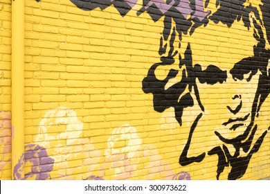 NETHERLANDS - LEIDEN - MEDIA JULY 2015: Graffiti on a wall with a portrait of Ludwig van Beethoven.