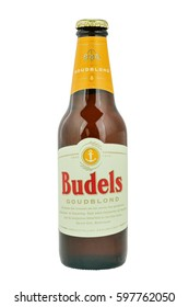 NETHERLANDS - LEIDSCHENDAM - MEDIA OCTOBER 2015: Budels Goudblond beer bottle from the brewery in Budel, Netherlands.