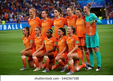 Netherlands line-up during the 2019 FIFA Women's World Cup France Semi Final match between Netherlands and Sweden at Stade de Lyon on July 3, 2019 in Lyon, France.