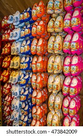 NETHERLANDS - May, 05, 2016 : Dutch traditional wooden shoes, clogs.  Souvenir from Holland