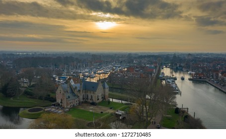 Netherlands Medemblik 27 December 2018, Castle Radboud at Medemblik Holland seen from a above.