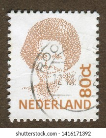 NETHERLANDS no circa : A stamp printed in Netherlands shows portrait of Queen Beatrix regnant of the Kingdom of the Netherlands.