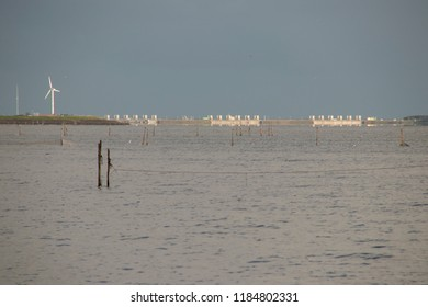 Netherlands, North-Holland, Den oever, july 2018:The Stevinsluizen are a lock complex in the Afsluitdijk at Den Oever seen over the IJsslemeer from a sincere distance