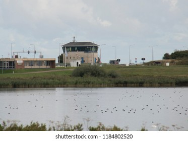 Netherlands, North-Holland, Den oever, july 2018:The Stevinsluizen are a lock complex in the Afsluitdijk at Den Oever seen over the IJsslemeer from a distance