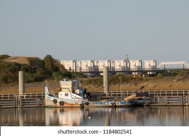 Netherlands, North-Holland, Den oever, july 2018:The Stevinsluizen are a lock complex in the Afsluitdijk at Den Oever seen over the harbor