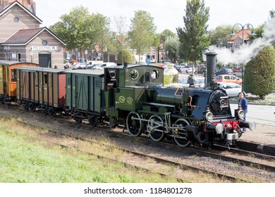 Netherlands, North-Holland,Medemblik,july 2018:Historical old train still in front of the former railwy of Medemblik