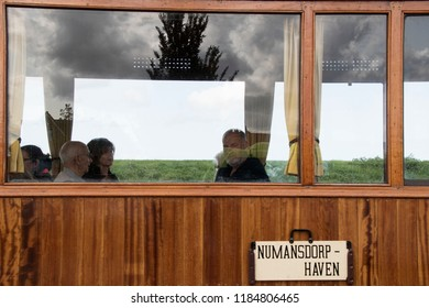 Netherlands, North-Holland,Medemblik,july 2018:Passengers of the Historical old train
