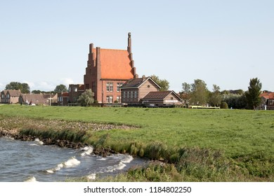 Netherlands, North-Holland,Medemblik,july 2018:View on Medemblik from IJsselmeer