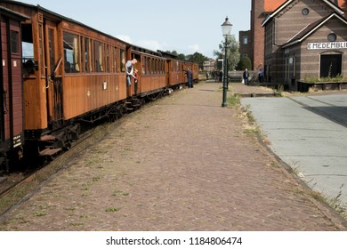 Netherlands, North-Holland,Medemblik,july 2018:Wagon of historilcal  old train