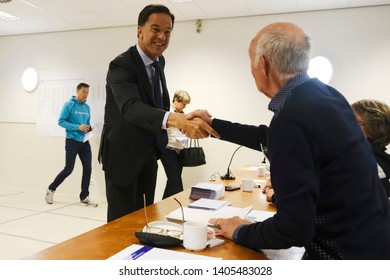 Netherlands Prime Minister Mark Rutte at a polling station in The Hague, Netherlands, Thursday, May 23, 2019, as polls opened in elections for the European Parliament.