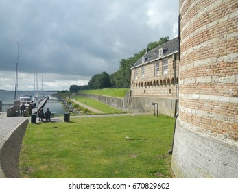 Netherlands, province of Zeeland. Fortified wall at harbor