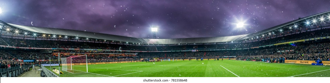 NETHERLANDS, ROTTERDAM - December 24th 2017: Panorama wide overview of the Feyenoord Stadium De Kuip also called Feijenoord Stadium during the evening / night match