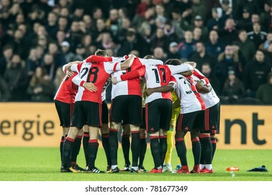 NETHERLANDS, ROTTERDAM - December 24th 2017: players of Feyenoord in a Scrum / Huddle before the match