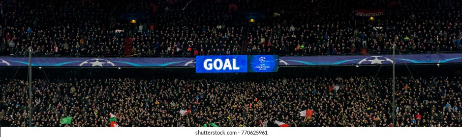 NETHERLANDS, ROTTERDAM - December 6th 2017:  Score board with goal on it and champions league logo During the Champions league match Feyenoord vs SSC Napoli