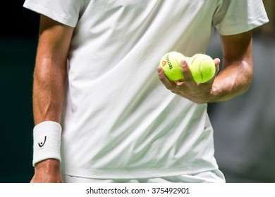 NETHERLANDS, ROTTERDAM - February 10th 2016: at the Sportpaleis Ahoy during the ATP World Tour indoor tennis tournament ABN AMRO WTT , Player holding tennis balls before serving