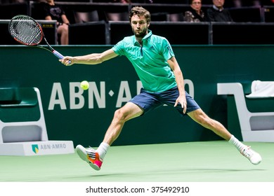 NETHERLANDS, ROTTERDAM - February 10th 2016: at the Sportpaleis Ahoy during the ATP World Tour indoor tennis tournament ABN AMRO WTT , Gilles Simon