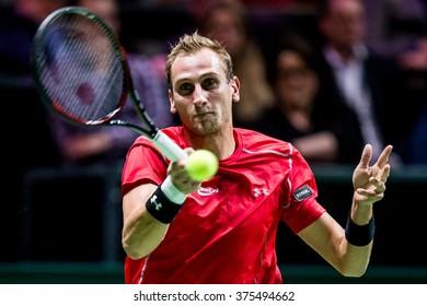 NETHERLANDS, ROTTERDAM - February 9th 2016: at the Sportpaleis Ahoy during the ATP World Tour indoor tennis tournament ABN AMRO WTT , Thiemo de Bakker