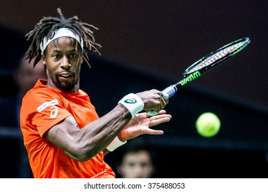 NETHERLANDS, ROTTERDAM - Febuary 10th 2016: at the Sportpaleis AHOY during the ATP 500 World Tour ABN AMRO indoor Tennis Tournament Gael Monfils