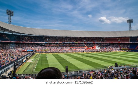 NETHERLANDS, ROTTERDAM - July 7th 2018: The open fan day of Feyenoord Rotterdam where traditionally the helicopter lands with Feyenoord's new players