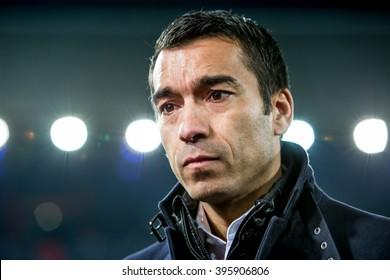 NETHERLANDS, ROTTERDAM - March 24th 2016: at the De Kuip during Feyenoord - Sparta , Giovanni van Bronckhorst trainer coach of Feyenoord