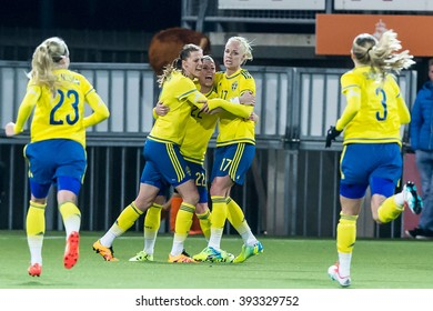 NETHERLANDS, ROTTERDAM - March 9th 2016: Olympic qualification tournament women football Netherlands vs Sweden Stadium Kasteel, Olivia Schough scores the 1-1 and celebrates