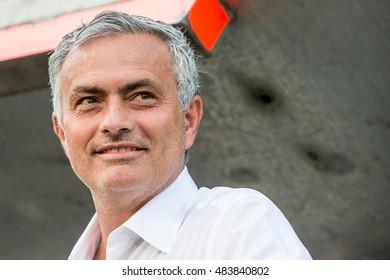 NETHERLANDS, ROTTERDAM - September 15th 2016: at the Feijenoord stadium de Kuip during the Europea league match Feyenoord vs Manchester United , trainer coach Jose Mourinho